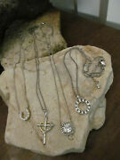 Vintage 925 Sterling Silver White Crystal Pendant Four Necklaces- Your Choice