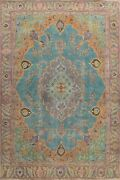 Floral Semi-antique Traditional Handmade Area Rug Evenly Low Pile Carpet 9x13 Ft