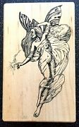 Vintage Rubber Stamp Magic Butterfly Fairy - Gorgeous Stampa Barbara 5 X 3