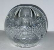 Vintage Hand Blown Glass Pen Holder Paper Weight Clear Bubbles 4andrdquox4andrdquo 30 Ozs