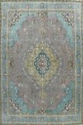 Antique Floral Gray Traditional Area Rug Evenly Low Pile Hand-knotted Wool 9x13