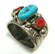 Massive Size 16 Signed T Navajo 23g Wide Band Turquoise Red Coral Sterling Ring