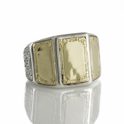 Konstantino Sterling Silver And 18k Gold Plain Three Panel Ring Retail 1,260 New
