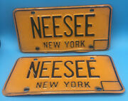 New York State Matching Pair Of Vanity License Plates Neesee W/ Free Shipping
