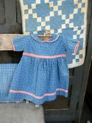 Antique Baby Doll Dress Blue Calico With Pink Trim