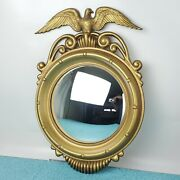 Vintage American Eagle Federal Convex Glass Mirror Wall Hanging Sexton Metal