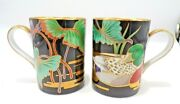 Vintage Rare Fitz And Floyd Japan 339 Duck Mallard Coffee Cup Mug Set Of 2