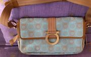 Rare. And039ferragamoand039 Vintage Bag. Fabric/calf Leather. 28x15x6cm. As New Cond.
