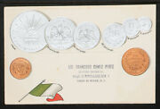 45.-1900and039s Vintage Mexico Embossed Copper And Silver Coins And Flag Postcard