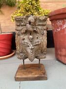Antique Rare Wood Craved Wild Eagle Figure Bracket Panel With Stand Base 1700