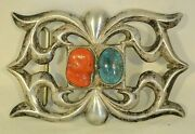 Xl Navajo Belt Buckle Tufa Sand Cast Sterling Silver With Coral Turquoise Ketoh