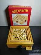 Traditional Vintage All Wood Wooden Labyrinth Puzzle Maze Game Unused Vgc Boxed