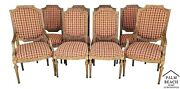Set Of 8 Italian Neoclassical Upholstered Dining Chairs W Table Runner + Pillows