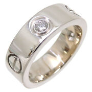 750wg Us4-4.5 Love Ring Half Diamond Used Excellent++ Condition Japan