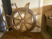 """Antique Ships Wheel Steel And Wood Very Good Used Condition 48"""" Wide"""