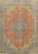 Antique Traditional Orange Handmade Area Rug Evenly Low Pile Wool Carpet 10x12