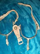 Pair Of Used Vintage Cowboy Spurs Made In Korea, Very Old,leather Straps