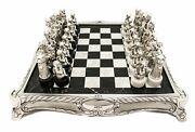 Fine Handcrafted Detailed Rare Italian Silver Plate And Marble Chess Set