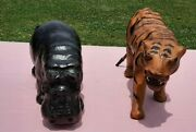 Vintage Leather Wrapped Hippopotamus And Tiger Animal Figures Statues Glass Eyes