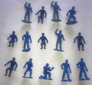 Vintage 1960s Lot Of Blue Mpc Ring Hand Civil War Army Figures