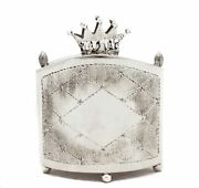 925 Sterling Silver Hand Wrought 2 Tone Crown And Inscription Tzedakah Box