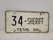 Vintage 1968 Tennessee Sheriff License Plate - Putnam County