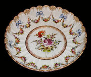 Meissen Plate Centerpiece Bowl Charger Germany Bows Gold Floral
