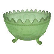 Antique Carnival Glass Peacock At The Fountain Fruit Bowl Satin Green Unmarked
