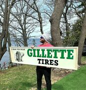 Vintage Metal 1963 Gillette Tire Sign Gasoline Gas Oil W/ Bear Tire Graphic 73in