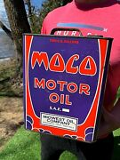 Vintage Moco Midwest Oil Co Motor Oil Gas Station 2 Gal Can W/ Logo Sign