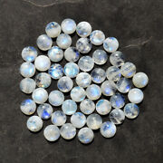 Real Natural Blue Fire Rainbow Moonstone Calibrated 8x8 Mm Round Shape Cabochon