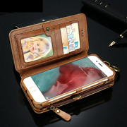 Leather Wallet Flip Magnetic Back Cover Case For Apple Phone / Samsung Galaxy