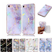 Colorful Bling Plating Marble Soft Silicone Case Cover For Iphone 5s 6 7 8plus X
