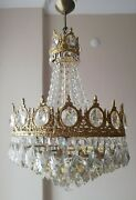 Pair Of French Basket Style Vintage Brass And Crystals Chandelier Antique Lamp