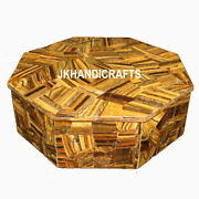 4 X 12 White Marble Jewelry Box Tiger Eye Floral Marquetry Inlaid Art Gifts