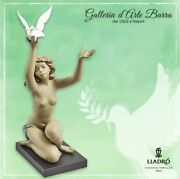 Lladró Porcelain Art In Stoneware By Lladro. Figure, Woman, Nude With Doves