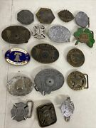 Lot Of 17 Vintage Fire Department, Nypd, Nyfd, Ems , Texas Ranger Belt Buckle