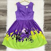 Disney Parks Dress Shop Maleficent Dragon Purple Villain Fit And Flare Medium