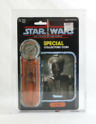 Vintage Star Wars Moc - Ev-9d9 Power Of The Force Afa 85 Archival Stunning Clear