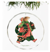 Vera The Mouse-holiday Greenery Round Glass Ornament By Marjolein Bastin