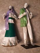 Paper Mache Skeleton Figures Man And Women 14 Day Of The Dead Signed Halloween