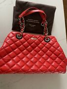 Kate Spade Gold Coast Maryanne Flo Coral Quilted Handbag