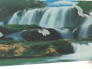 Vintage Light Up Red Crane Waterfall Motion Mirror Framed Wall Hanging 39 X 19