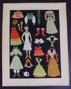 Jointed Paper Doll Antique Vintage Fabric Clothes Accessories