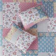 Cozy Shabby Cottage Country Chic Pink Blue Yellow Rose Flower Soft Quilt Set