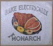 1960's Monarch Electric Range Store Display Poster Baked Ham Stove/oven