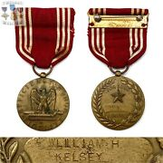 Named Wwii Us Army Good Conduct Medal William H. Kelsey Engraved Ww2
