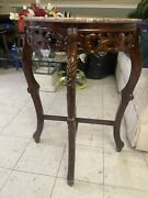 Half Moon Carved Console Table Marble Top