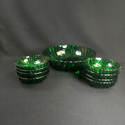 Anchor Hocking Burple Berry Bowl Set Master And 8 Individuals 1940and039s Green Glass