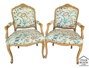 2 Vintage French Provincial Louis Xv Style Italian Arm Chairs By Chateau D'ax